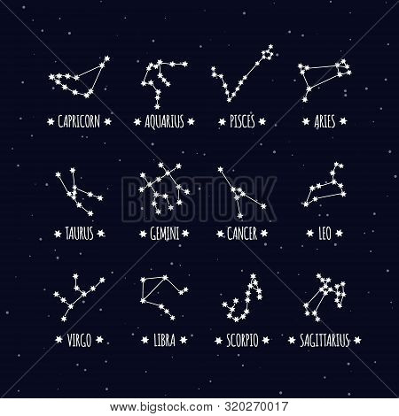 Constellations Stars Set For Horoscope Predictions And Prophecies. Set Of Zodiac Signs With Titles.
