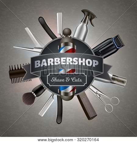 Poster For Printing. Inscription On Background Tools Barber. Barber Tool Kit. Hair Styling Product.