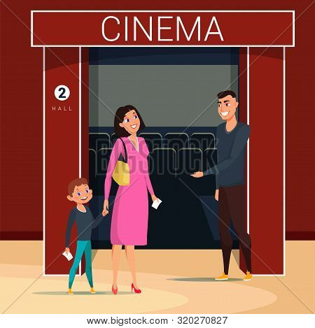 Woman With Son Going To Cinema Flat Vector Illustration. Worker Cartoon Character Checking Tickets.