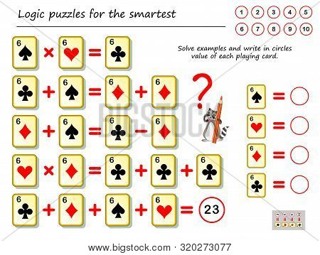 Mathematical Logic Puzzle Game. Solve Examples And Count The Value Of Each Playing Card. Write Numbe