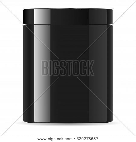 Black Jar. Cream Container. Cosmetic Jar Mockup. Glossy Plastic Packaging. Black Medicine Supplement