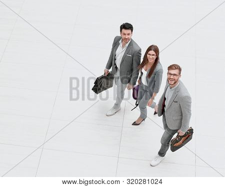 top view.business people go together.