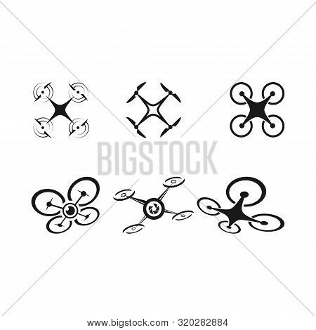 Template Drone Logo, Drone Logo, Drone Icons Set. Logos Templates Of Flying Drones,