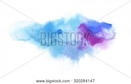 Abstract color watercolor cloud and ink blot painted background. Texture paper. Isolated on white.
