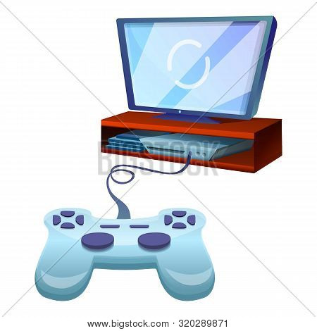 Joystick Tv Console Icon. Cartoon Of Joystick Tv Console Vector Icon For Web Design Isolated On Whit