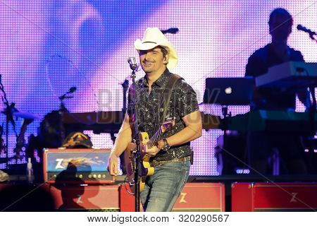 WANTAGH, NY - AUG 30: Brad Paisley performs in concert at Northwell Health at Jones Beach on August 30, 2019 in Wantagh, New York.