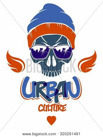 Urban Culture Style Skull Vector Logo Or Emblem, Gangster Or Thug Illustration, Anarchy Chaos Hoolig