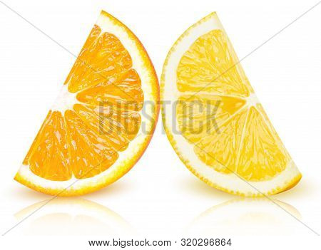 Ripe Slices Of Yellow Lemon And Orange Citrus Fruits Stand Isolated On White Background. Lemon And O