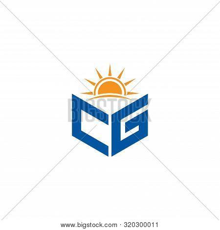 Abstract Polygonal Cg Logo, Cg Letter Logo, Polygonal Cg With Sun Logo Sing And Symbol
