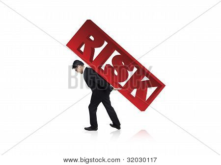 Worried Businessman With Risk Sign