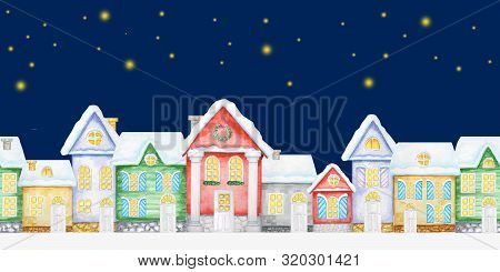 Seamless Pattern Watercolor Christmas Winter Night Houses With Wooden Door, Luminous Windows, With S