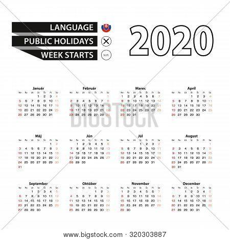 2020 Calendar In Slovak Language, Week Starts From Sunday. Vector Illustration.