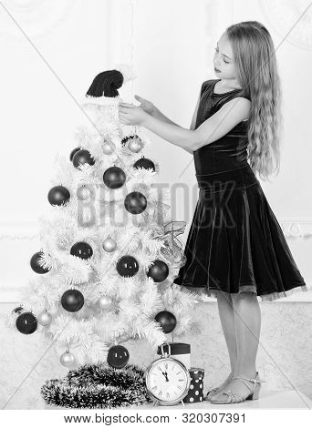 Girl Velvet Dress Feel Festive Near Christmas Tree. Make This Day Best Holiday Ever. Very Special Ti