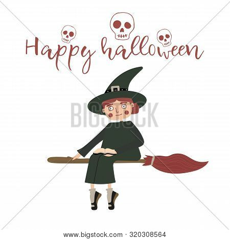 Witch Flies On The Coven. Illustrated Cartoon Character In A Flat Style. Female Sorceress Riding A B