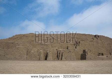 The Grey Stones Of Huaca Pucllana, A Sacred Pyramid From Pre-incan Times, In The Miraflores District