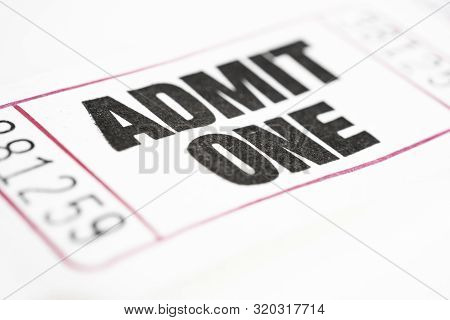 A Macro Or Close-up Shot Of A Strip Of Generic White Sequentially Numbered Admittance Ticket.