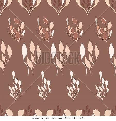 Folk Leaves Art Design On Mocha Background.