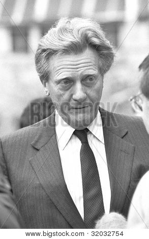 LONDON - FEBRUARY 26: Rt.Hon. Michael Heseltine, Secretary of State for the Environment and Conservative party Member of Parliament for Henley, talks to a reporter on February 26, 1992 in London, England.