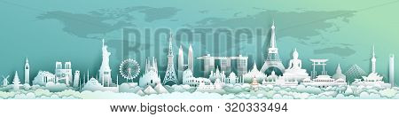 Travel Landmarks World With World Map Background, Important Architecture Monuments Of The World,tour