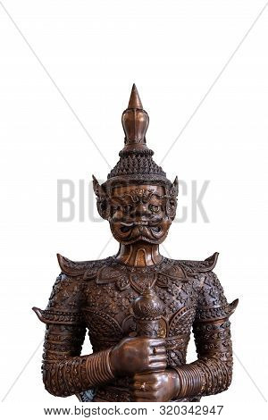 Close Up Of Face Of Tos-sa-kan From Ramakien Isolate On White Background. Brass Statue Of The Giant