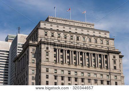 Montreal, Canada - 03 September 2019: Edifice Sun Life Building on Metcalfe street.