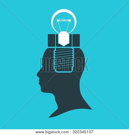 Screw And Lamp In The Head Of A Person. Lamp Head Businessman. Illustration Of Brainwork, Idea Appea