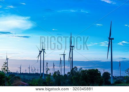 Landscape Of Farm Big Wind Turbines Which Alternative Energy Innovation For Production Electricity E
