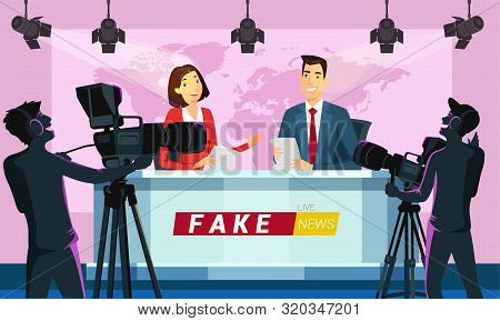 Live Fake News On Tv Cartoon Vector Illustration. Reporters Reading Breaking News From Paper. Broadc
