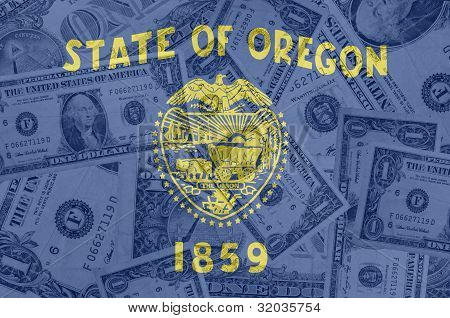 transparent united states of america state flag of oregon with dollar currency in background symbolizing political economical and social government poster