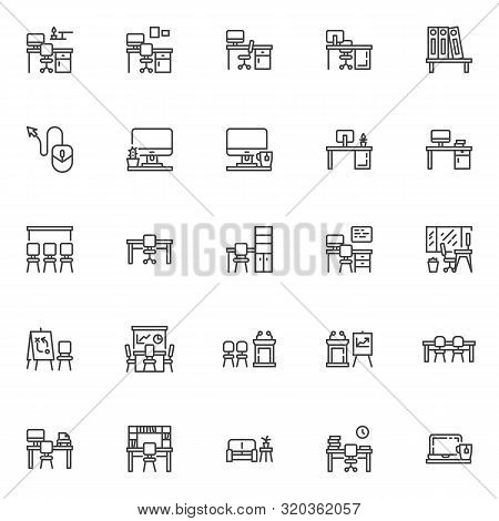 Office Workplace Line Icons Set. Linear Style Symbols Collection, Outline Signs Pack. Vector Graphic