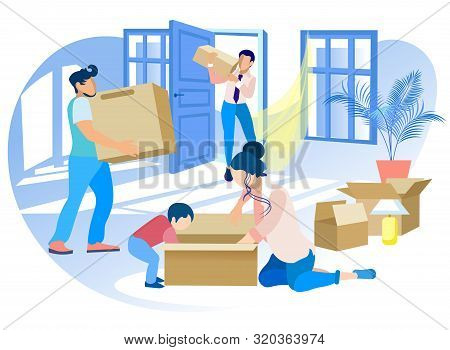 Happy Family Moving Into New House. Mother And Little Son Unpacking Cardboard Box, Dad And Worker Ca