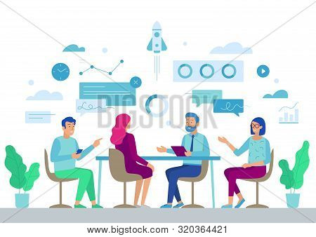 Business Board Meeting Director And Employees In Office. Businesspeople Around Table Planing Start U