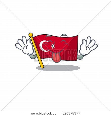 Tongue Out Turkey Character Flag In Mascot Drawer