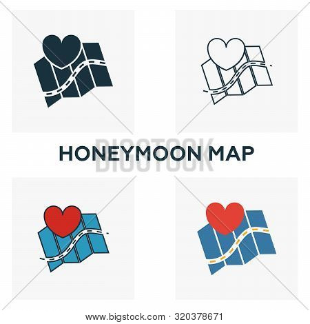 Honeymoon Map Icon Set. Four Elements In Diferent Styles From Honeymoon Icons Collection. Creative H