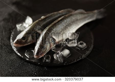 Fresh Labrax On Ice, Raw Sea Fish. Protein And Omega 3.