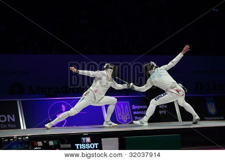 KIEV, UKRAINE - APRIL 14, 2012: Italian team before the match for 3rd place during World Fencing Championship on April 14, 2012 in Kiev, Ukraine