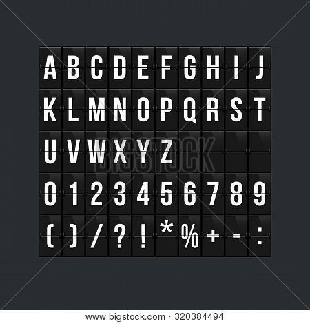 Flipboard Style Alphabet Vector Illustration. Airport Terminal, Arrival Board With Letters And Numbe