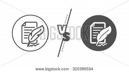Copywriting Sign. Versus Concept. Feather Signature Line Icon. Feedback Symbol. Line Vs Classic Feat