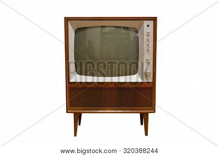 Vintage Television  Old Tv Isolated On White Background. Old-fashioned Television Close Up. Old Grun