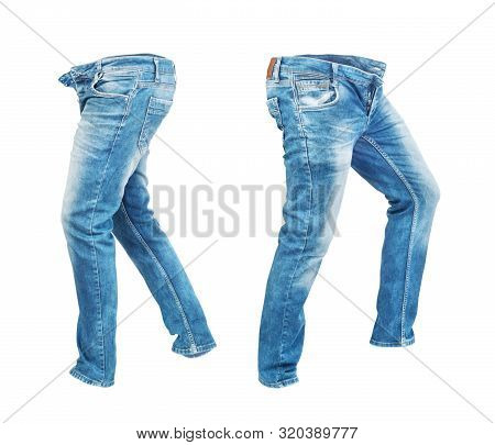 Blank Jeans Pants Leftside And Rightside Isolated On A White Background