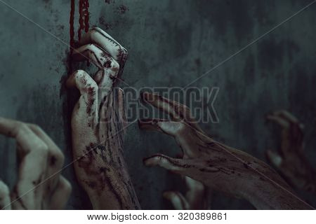 Bloody Zombie Hands Horror Scene, Halooween Theme
