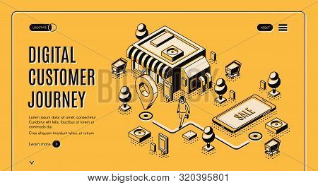 Digital Customer Journey Map Isometric Landing Page. Process Of Purchasing Decision, Buyer Make Purc