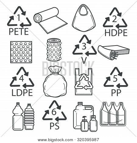 Recycling Symbols, Plastic Packaging Or Wrapping Isolated Icons