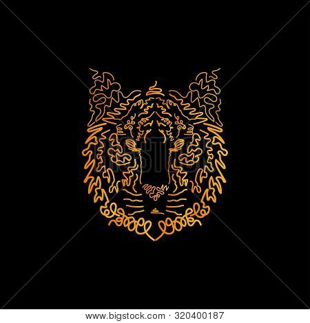 Illustration Of A Tiger Head For Print Design. Hand Drawing Art