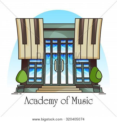 Music Academy Or Conservatory Building. Musical School Or University, College. Facade Of Vocational