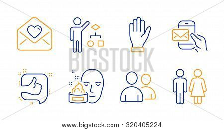Hand, Face Cream And Love Letter Line Icons Set. Algorithm, Like And Messenger Mail Signs. Users, Re