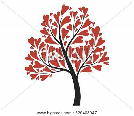 Tree With Hearts. Vector Illustration For The Day Of Lovers. Tree For Valentines Day. Tattoo.