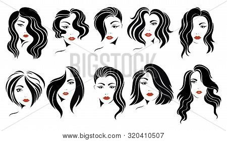 Set Of Hairstyles For Women. Collection Of Black Silhouettes Of Hairstyles For Girls. Fashionable Ha