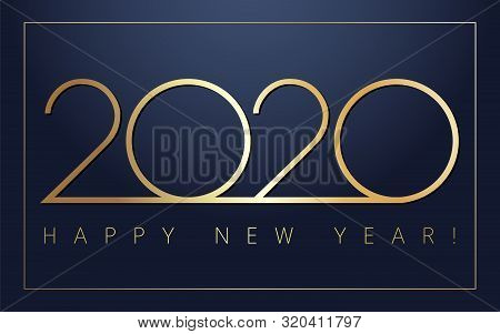 2020 Happy New Year Golden Simple Signs. Minimal 2020 Happy New Year Symbols For Calendar Design. Ve