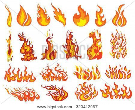 Set Of Fires. Collection Of Fire Walls. Illustration Of A Burning Strip. Flame Drawing. Flaming Wall